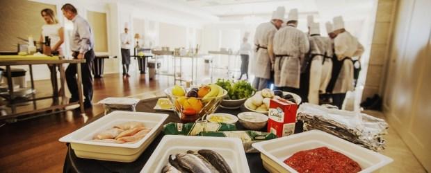 many chef preparing food
