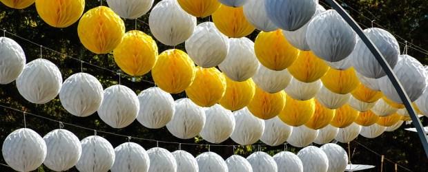 white and yellow Panton Globe Lamp