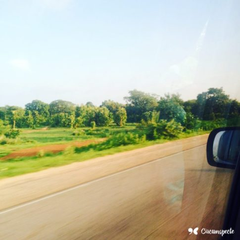 Northern Ghana during the rainy season: green savannah plains and vegetation