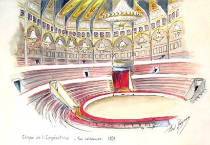 Le cirque de l'Impératrice intérieur - Cirque en 1852