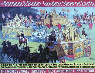 affiche de la cavalcade de Barnum & Bailey Circus