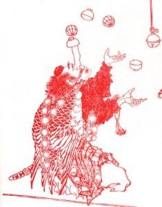 jongleur au long nez avec des balles - Saltimbanques d'Hokusai