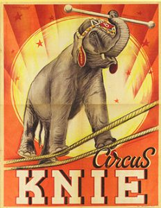 Yama du Cirque Knie au Cirque Medrano 1955 - Jean Richard à Medrano