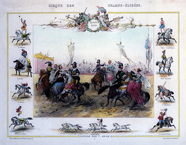 gravure au Cirque des Champs Elysées par Adams