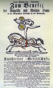 Affiche du Cirque henné 1817 - archives Arlequin