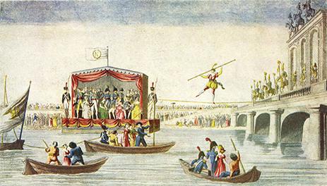 gravure de Madame Saqui sur la Seine