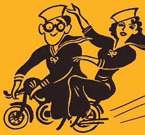 Brockway: personnages de dessins animés à vélo