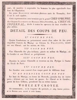Affiche Franconi en tournée - deuxième partie - Année 1801