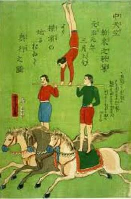 Acrobates à cheval - Japon 1846
