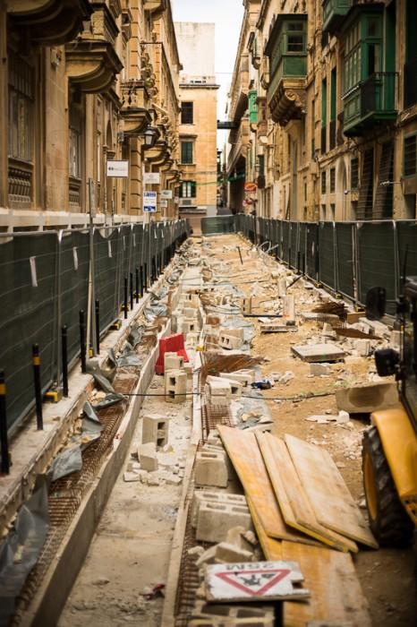 Street works in Valletta,Circus Malta,Valletta