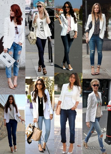 Blazer branco com calça jeans