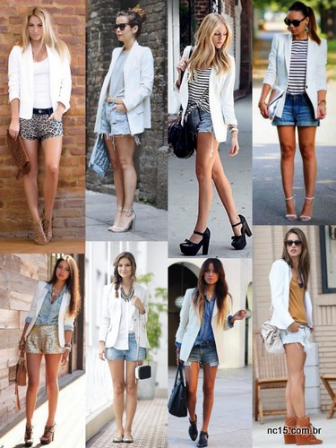 Blazer branco com shorts