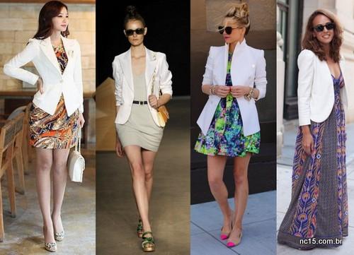 Blazer branco com vestido