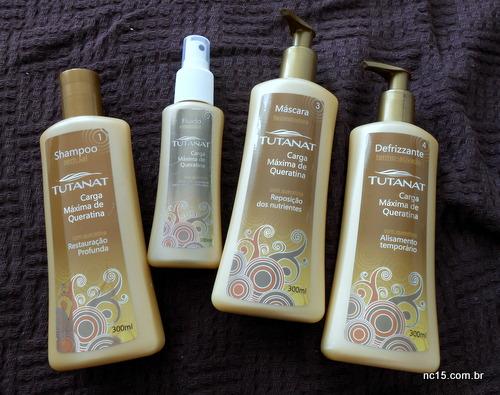Kit Tutanat Carga Máxima de Queratina é composto por: Shampoo (300ml) Máscara (300ml) Defrizzante (300ml) Fluido repositor de queratina (100ml)