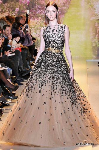 Vestido rosê com preto Zuhair Murad