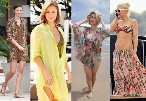 Camisa, caftan e saia como saída de praia para o verão