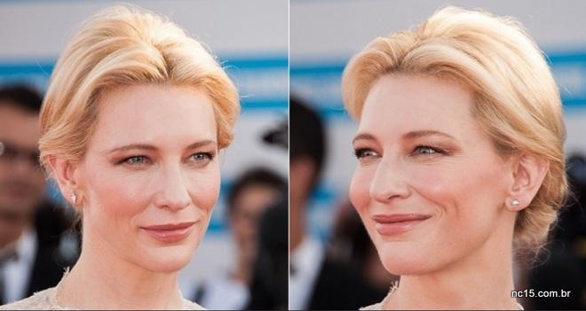 """Cate Blanchett é linda de todo jeito, mas com esta make natural, incluindo a boca num tom rosa nude e sombra dourada com bronze para acompanhar este tipo de preso que eu amo. Divide o cabelo ao meio, dá uma desfiada atras para ficar esse """"cucuruto"""", depois enrola cada lado e prende."""