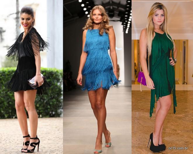 A blogueira Camila Coelho, modelo no desfile Issa London e a também blogueira Jornalista a Bordo. Todas de vestidos de franja