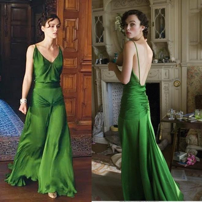 Em quarto, o vestido verde de Keira Knightley no filme Desejo e Reparação.