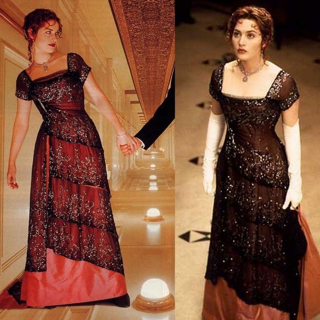 Kate Winslet, a Rose do filme Titanic, e seu vestido vermelho bordado para o jantar no navio.