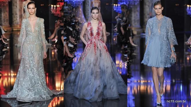 Vestidos azul e azul com vermelho, cheios de bordados, bem Elie Saab de ser na Paris fashion Week Outono Inverno 2014-2015