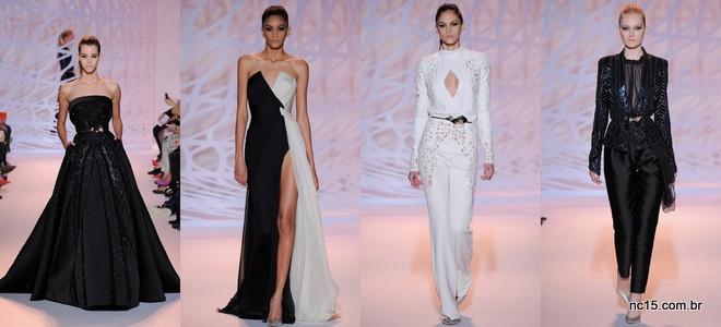 Vestidos em tons de preto, preto com branco e branco no desfile de Zuhair Murad na Paris Fashion Week Outo Inverno 2014-2015