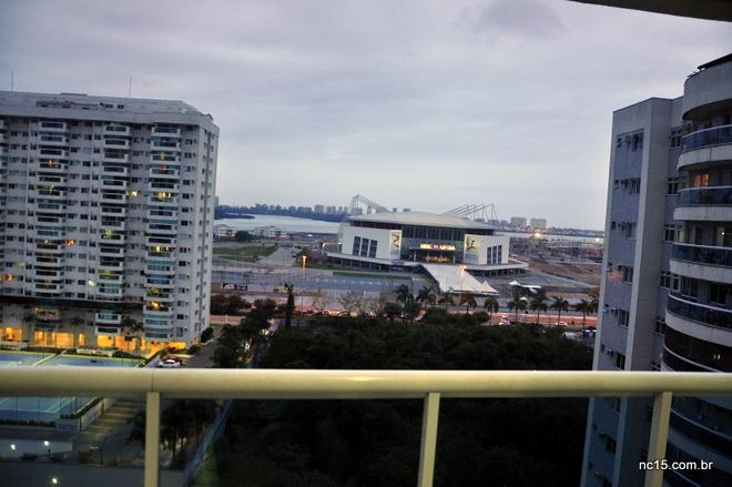Vista da nossa varanda no Rio de Janeiro: visão frontal da Arena HSBC