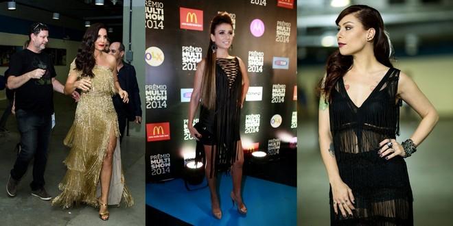 Ivete Sangalo usou vestido de franjas longo e dourado. Paula Fernandes e Pitty foram de preto curto também de franjas