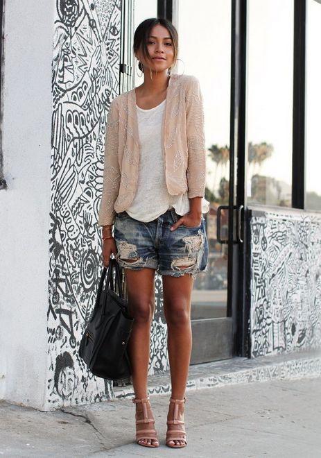Shorts com casaquinho com brilho