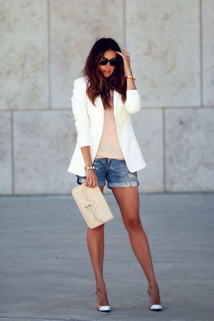 shorts jeans com blazer