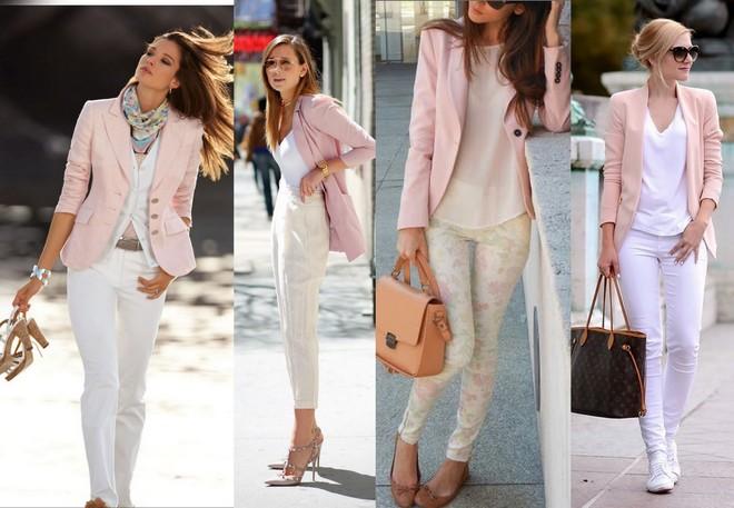 blazer rosa clarinho com combinado com calça branca, bege e até floral de fundo claro