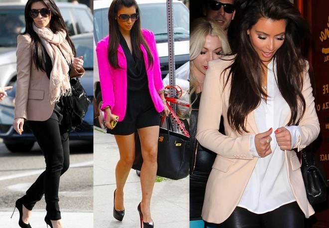 Kim kardashian usa blazer rosa com calça preta, macaquinho preto e calça de couro com blusa branca