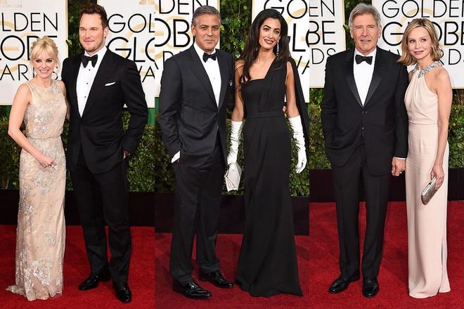 Anna Faris e Chris Pratt; George e Amal Clooney, que podia ter deixado essas luvas brancas em casa; e Harrison Ford e Calista Flockhart