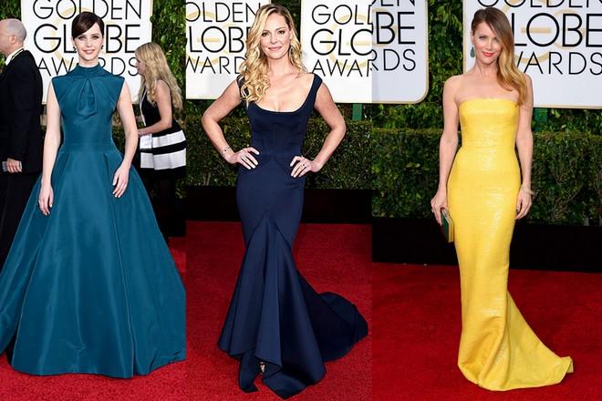 Felicity Jones com um longo de saia ampla verde da Dior; Katherine Heigl de Zac Posen azul petroleo com cauda sereia na barra; e Leslie Mann de amarelo tomara que caia Kaufmanfranco