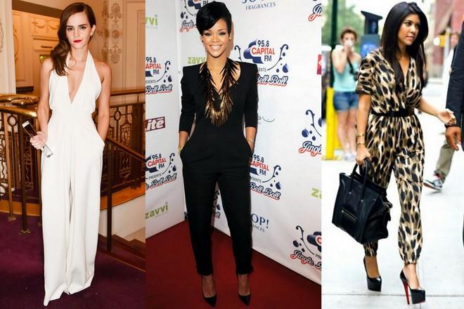 Emma Watson usa macacão branco. Rihanna usa preto e Kourtney Kardashian usa estampa de onça