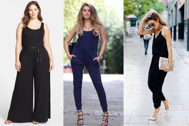 As três modelos usam macacão preto de alças com detalhe de cinto fininho marcando a cintura