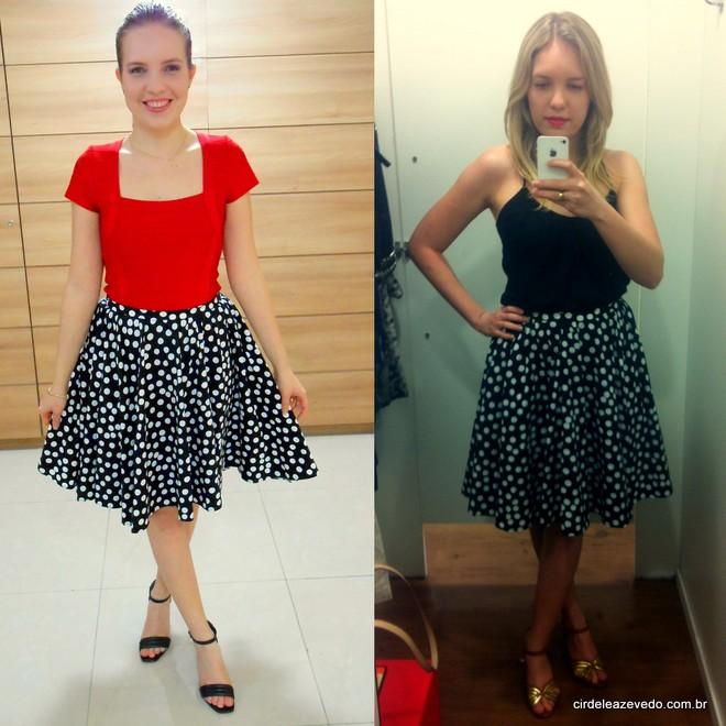 saia preta com bolinhas brancas combinada com blusa vermelha e também com blusa de alcinha preta