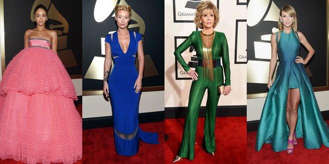Rihanna com um tomara que caia rosa bufante. Iggy Azalea num longo azul. Jane Fonda de macacão verde e colar longo de franjas dourado. Taylor Swift em um mulet verde em degradê na barra e sandália lilás