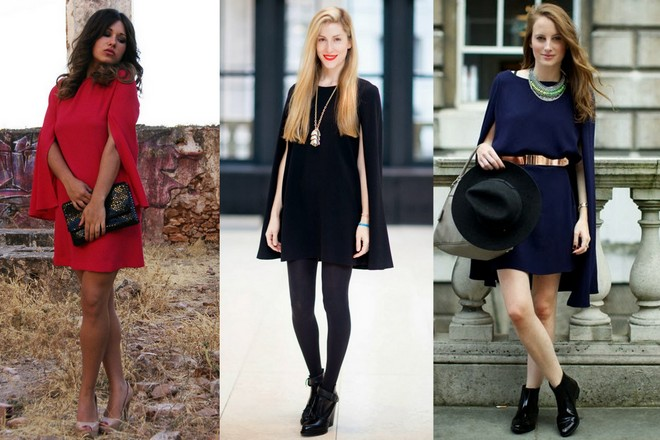 vestido capa vermelho combinado com sapato nude e bolsa preta; vestido capa preto usado com meia calça e bota de cano curto; vestido capa marinho com cinto dourado