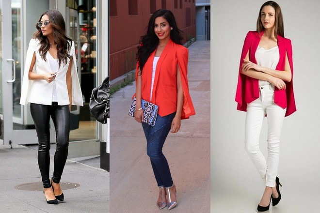 blazer capa branco com calça de couro preta; blazer capa laranja com calça jeans e blazer capa rosa com calça e camiseta branca