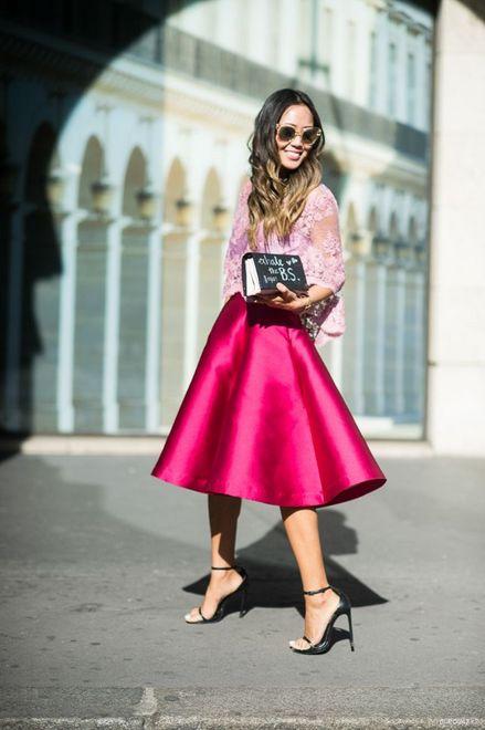 saia rosa midi com blusa rosa bebê