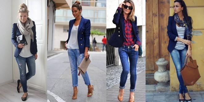 blazer azul com calça jeans