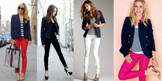 blazer azul com calça colorida