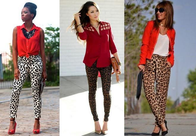 blusa vermelha com calça de animal print