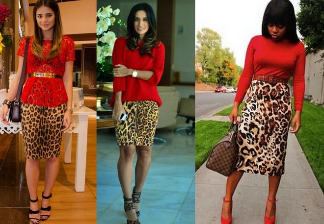 blusa vermelha com saia lápis de estampa animal