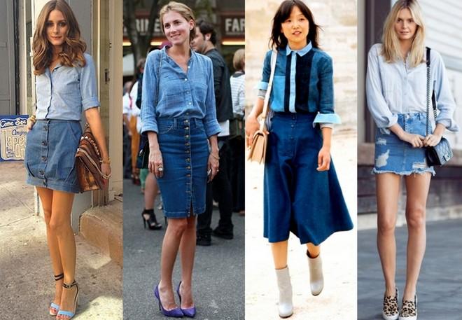 combinações de saia com camisa jeans