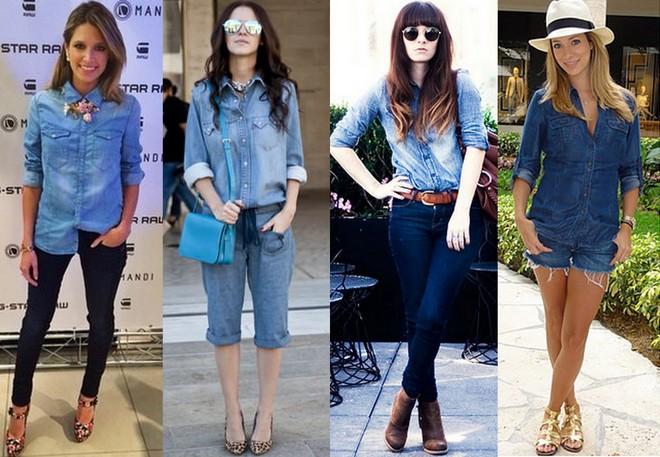 Camisa e calça jeans e maxi colar. Camisa jeans com bermuda e bolsa azul. Camisa jeans claro com calça jeans escura, cinto e bota marrons. Shorts jeans com camisa, tudo azul escuro, mais chapéu claro.