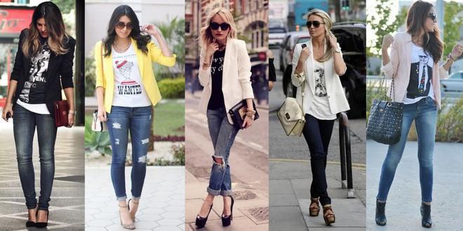 calça jeans, t-shirt e blazer