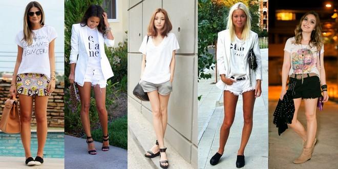 camiseta e shorts branco