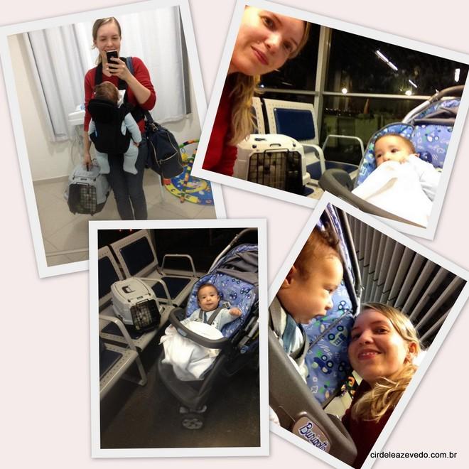 Eu no aeroporto, pronta para vijara sozinha com meu bebê e o nosso cachorro